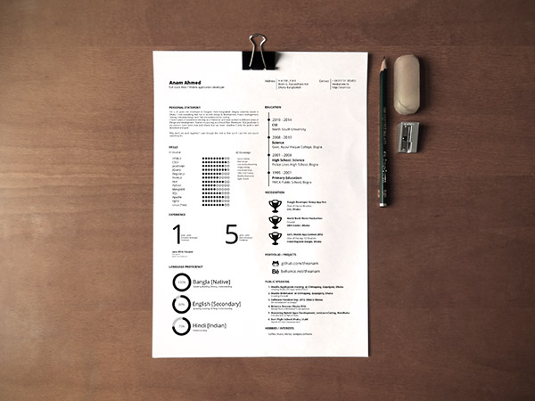 One page Printable Indesign Resume Templates
