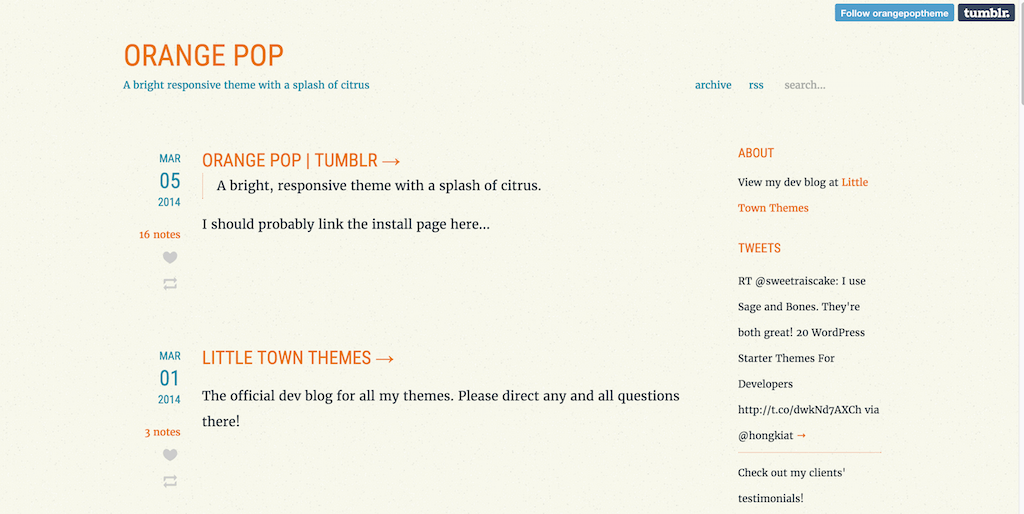 Orange Pop free tumblr theme