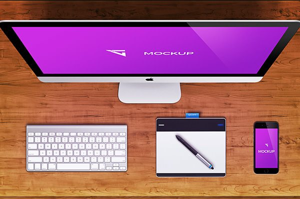 Pink iMac Mockup download