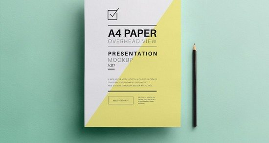 Psd A4 Overhead Paper Mock Up Template