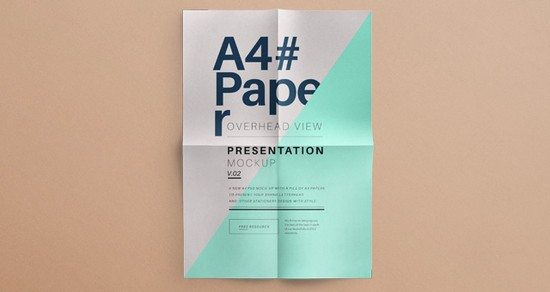 Psd A4 Overhead Paper Mock Up Templates