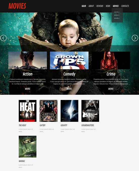 Responsive Movies Theme for Movies Database