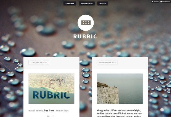 Rubric free tumblr theme