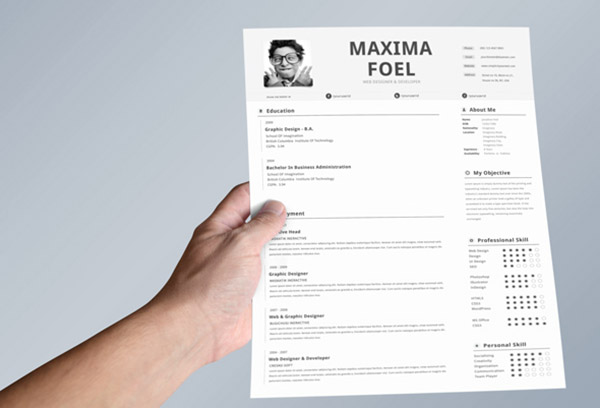 Simple Single Page Indesign Resume Templates
