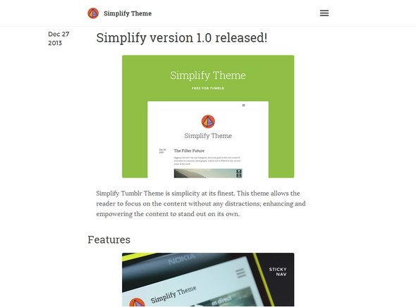 Simplify free Tumblr Themes download
