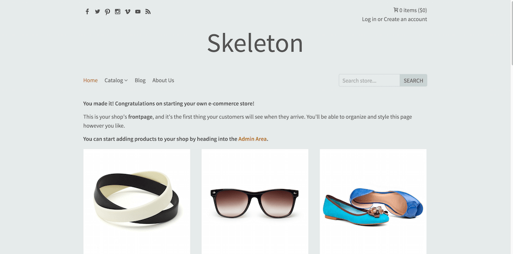Skeleton Shopify Themes for online stores