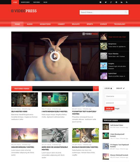 VideoPress WordPress Theme for Movies Database