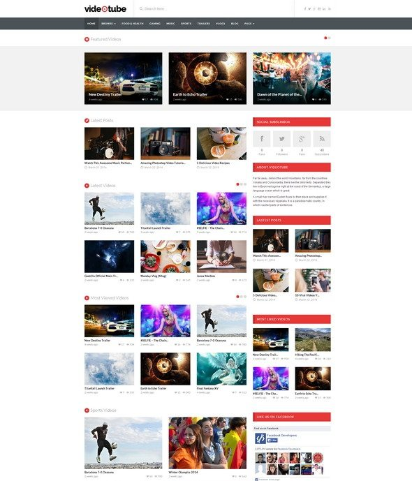 VideoTube Video WordPress Theme