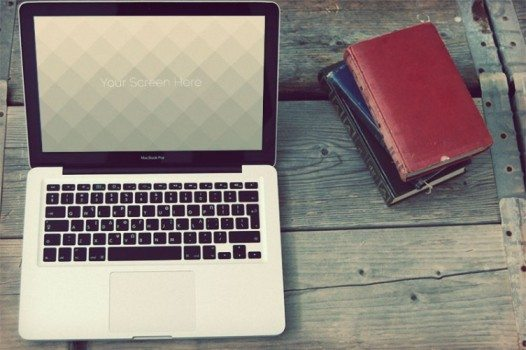 Vintage Macbook photorealistic mockups free download