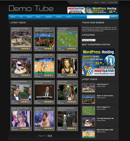 WP Tube Video WordPress Theme