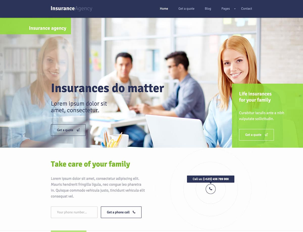 cool Insurance WordPress Theme