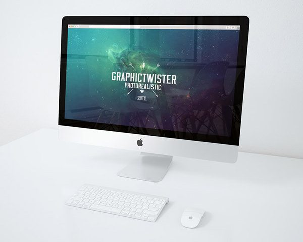 desk iMac PSD Mockup download