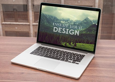 free MacBook By Window Mock up PSD