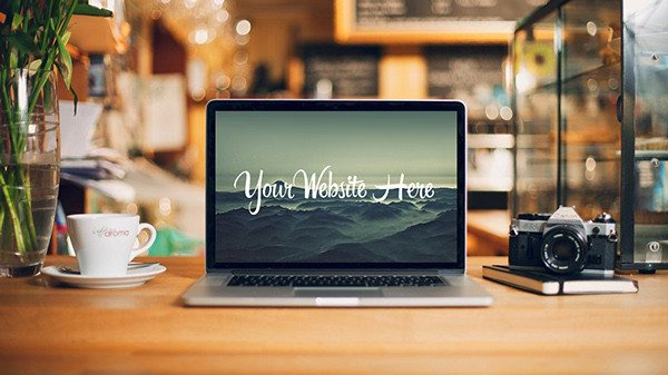 free MacBook Desk Mockup PSD