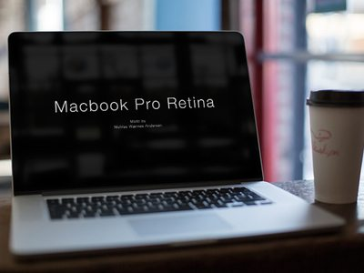 free Macbook Cafe Mock Up