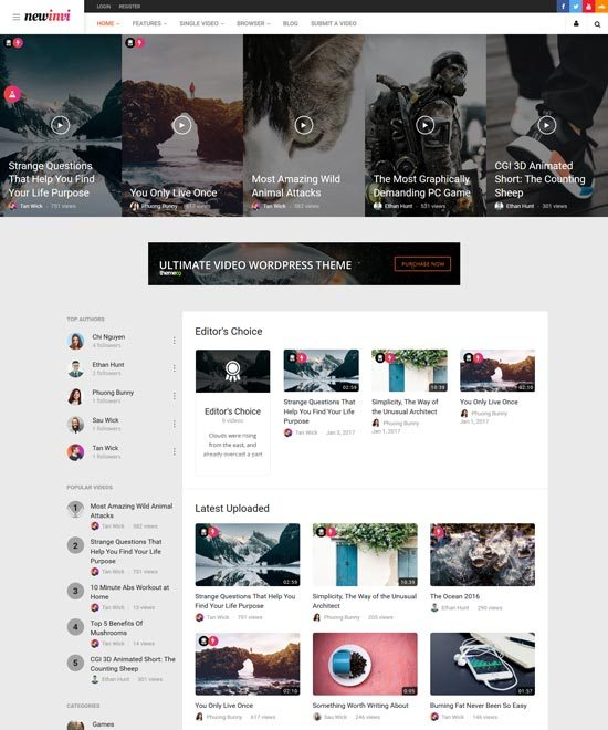 newinvi Video WordPress Theme