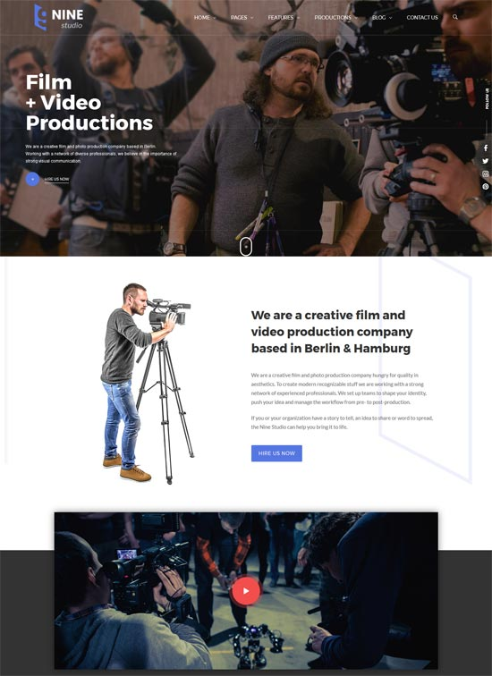 nine studio Video WordPress Theme