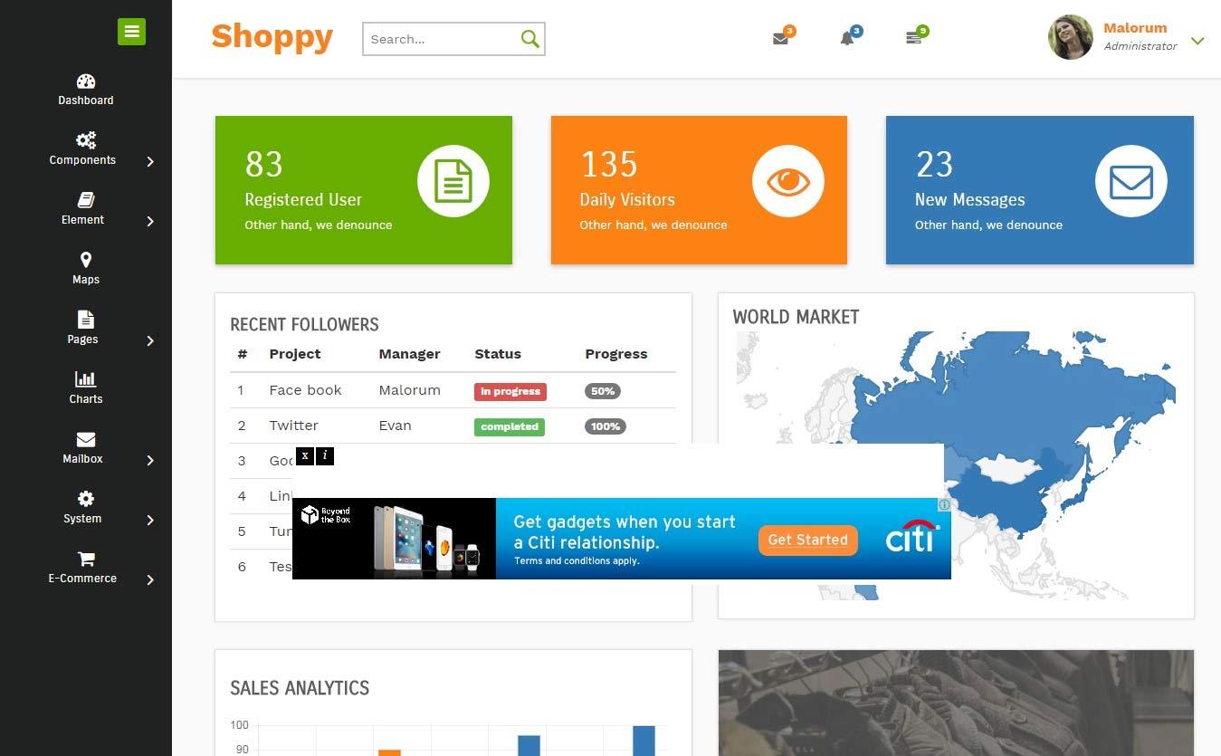 responsive html admin template shoppy. Black Bedroom Furniture Sets. Home Design Ideas