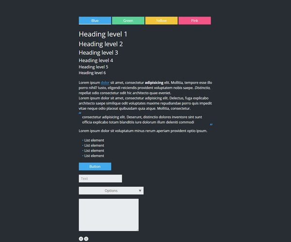 simple black HTML5 CSS3 UI Kit