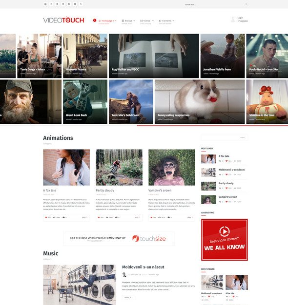 video touch Video WordPress Theme