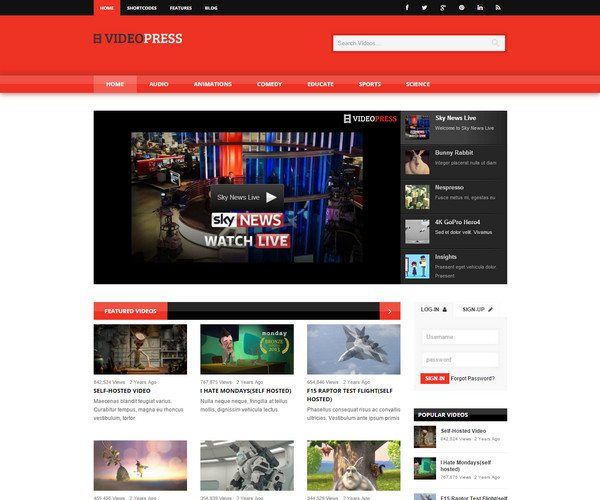 vieopress Video WordPress Theme