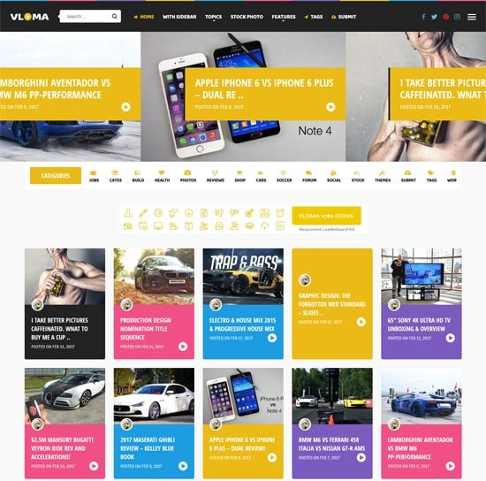 vloma grid Video WordPress Theme