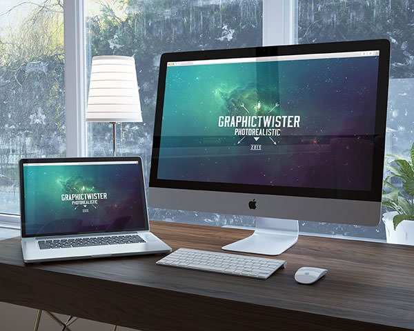 workspace imac mockup template free download