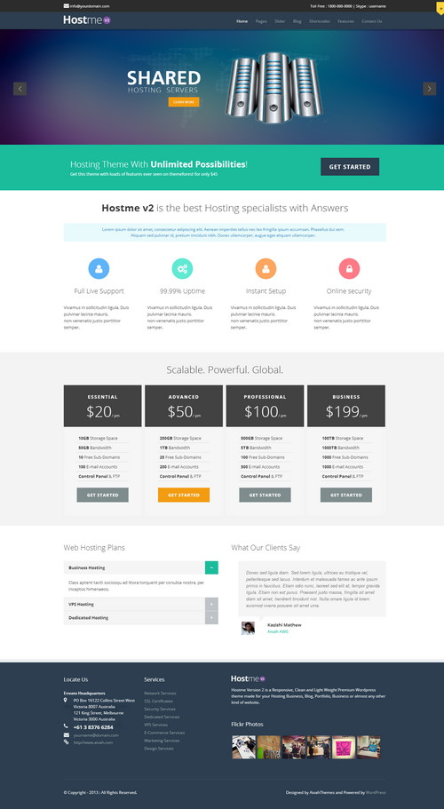 Hostme HostingWordPress Admin Template
