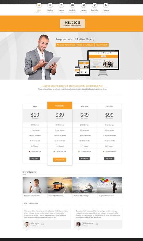 Million HostingWordPress Admin Template