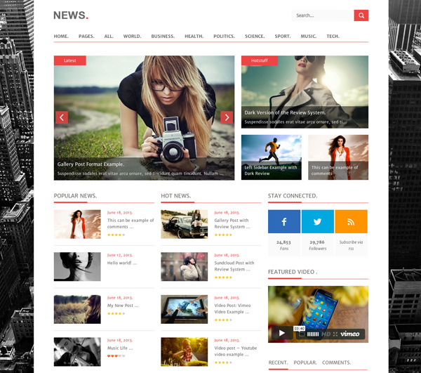 News Responsive Flat Design Template