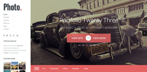 Photo WordPress site Responsive Flat Design Template