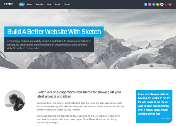 Sketch Responsive Flat Design Theme