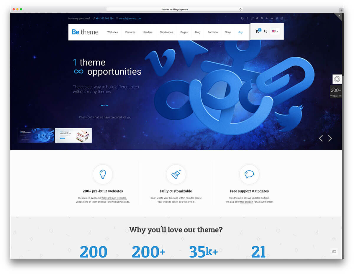 betheme WordPress Business Theme Admin templete