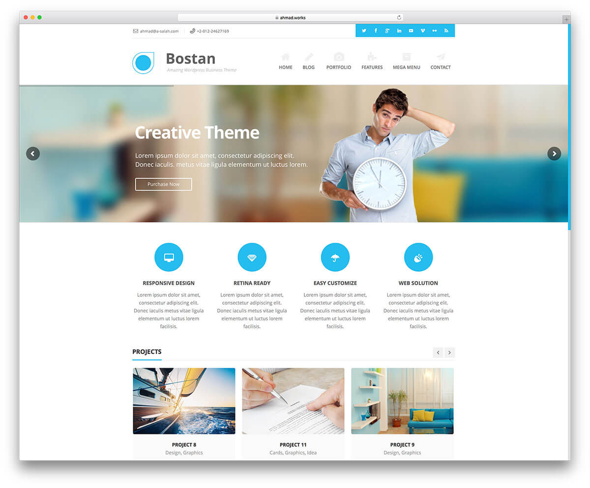 bostan WordPress Business Theme Admin templete