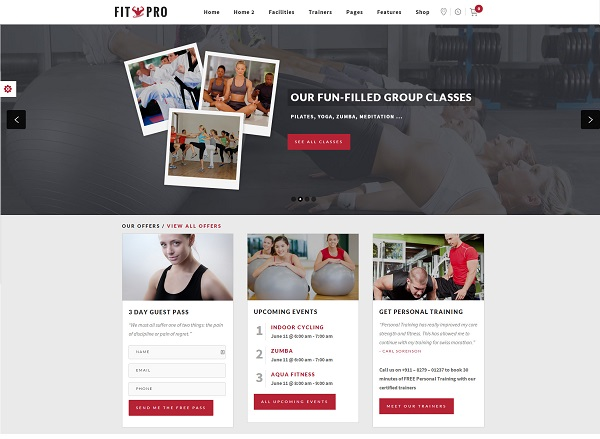 fitnesspro Responsive Flat Design Template