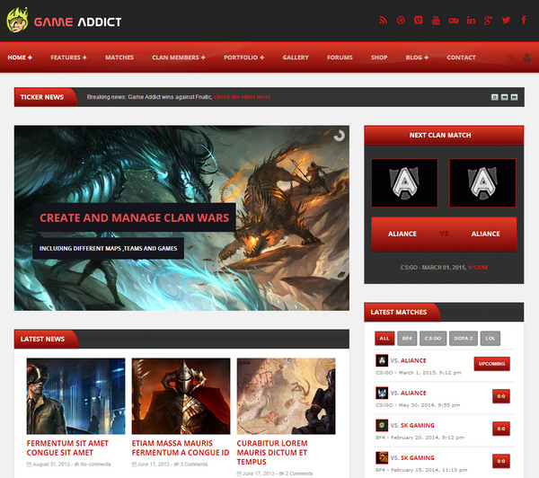 game addict Responsive Flat Design Template