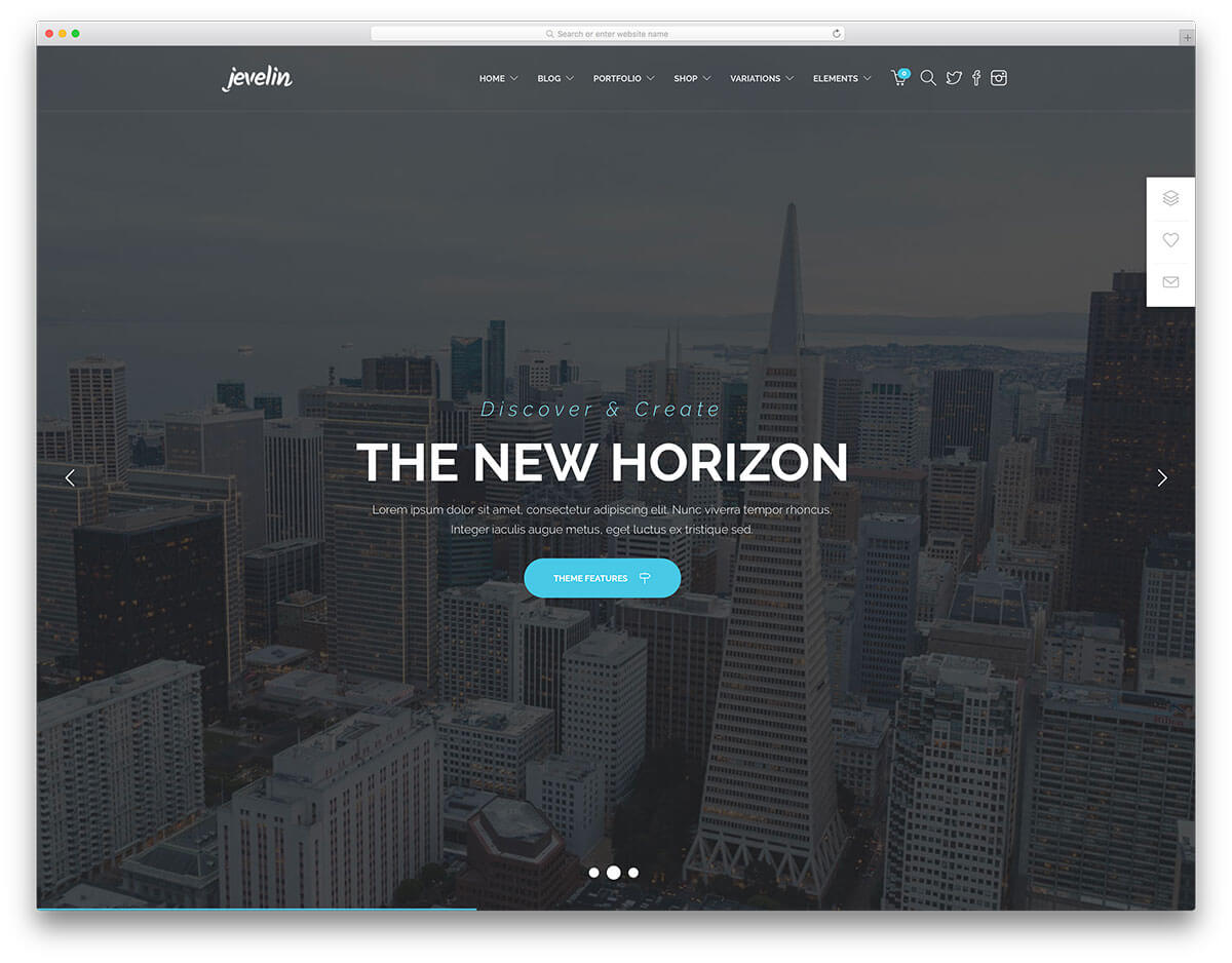 jevelin business landing page theme