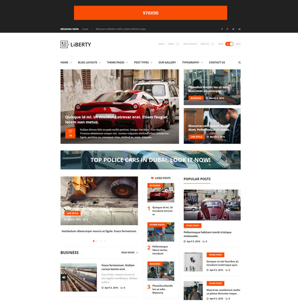 liberty theme Responsive Flat Design Template