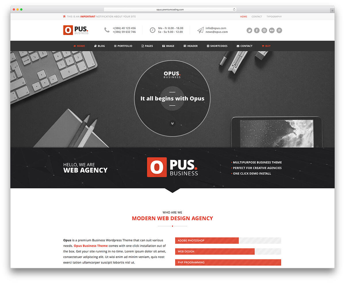 opus classic Business Theme 2017