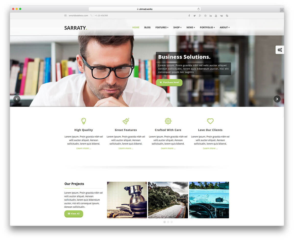 sarraty minimal Responsive WordPress Business Theme