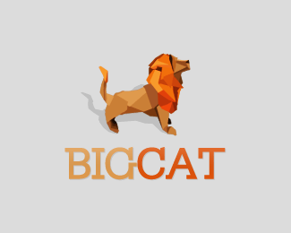 Big cat Origami Inspired Logo Design