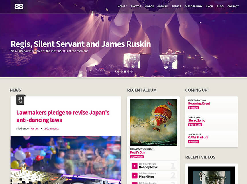 Club88 Best Music WordPress Theme for Musicians & Bands
