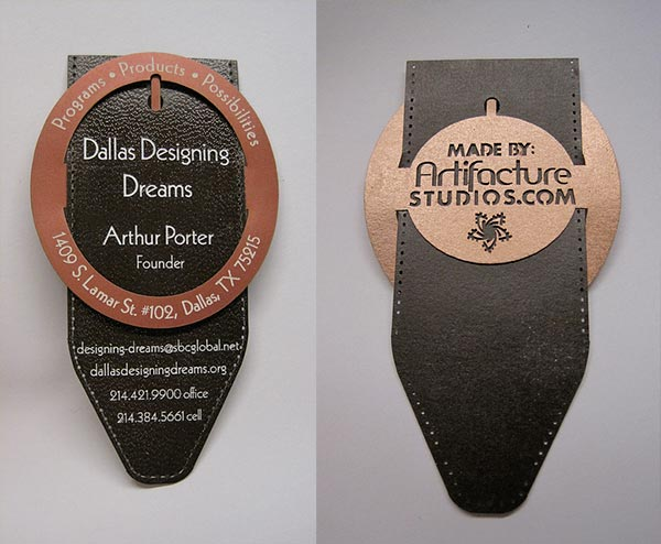 Dallas Die Cut Business Card