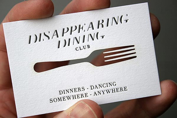 Disappearing Dining Club Custom Die Cut
