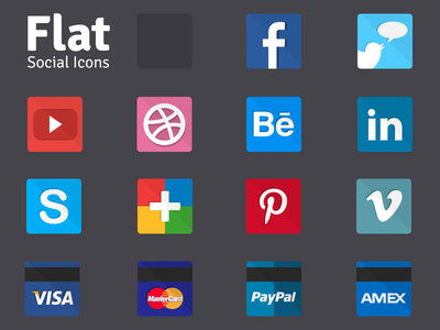 Flat Social Debit Card and Payment Method Icon Set
