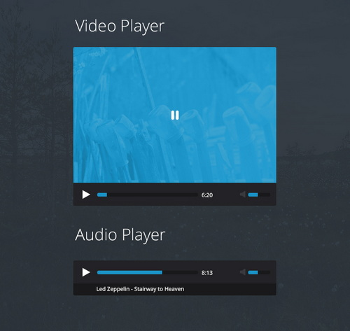 Flat music video player PSD Template