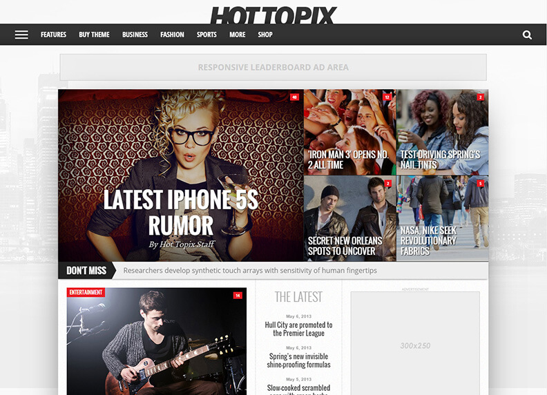 Hot Topix 80 Best Responsive Magazine WordPress