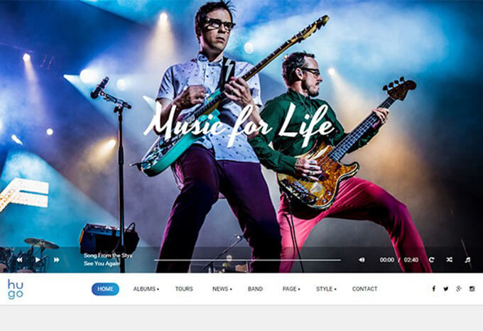 Hugo Best Music WordPress Theme