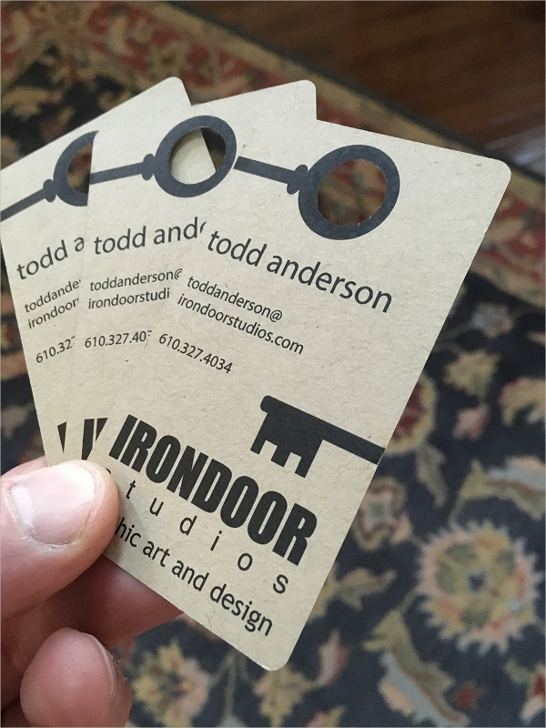 Irondoor Die Cut Business Card