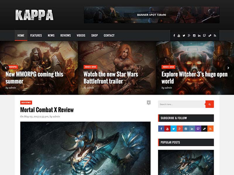 Kappa Responsive Gaming WordPress Theme